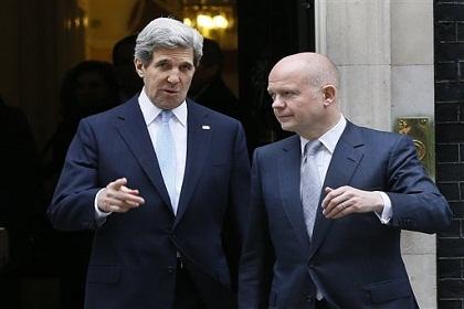 جون كيري يلتقي نظيره البريطاني وليام هيغ لبحث الازمة السورية …