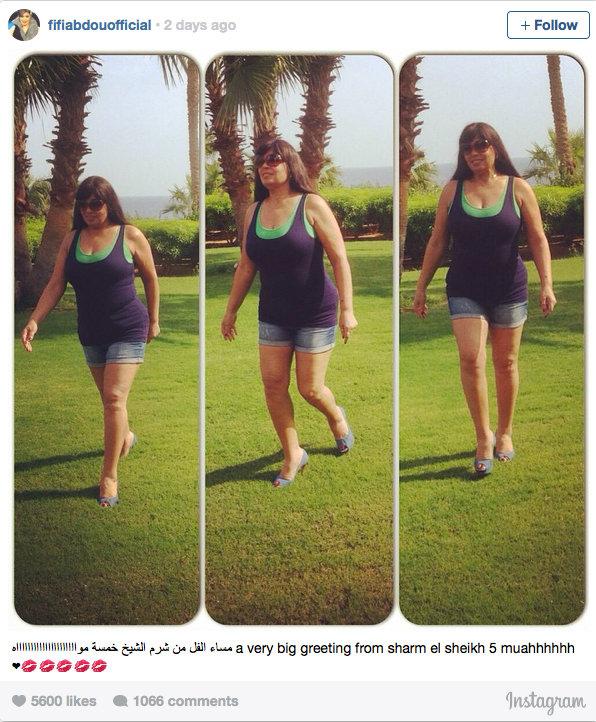 بالصورة .. فيفي عبدة تستعرض رشاقتها بلبس مثير