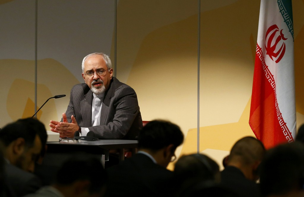 Iranian Foreign Minister Mohammad Zarif addresses news conference following nuclear negotiations at UN in Geneva
