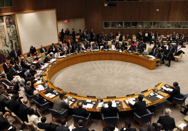 The United Nations Security Council is convened with British Foreign Secretary William Hague as chair at U.N. headquarters in New York