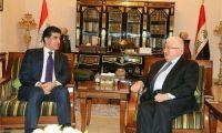بارزاني يؤكد لمعصوم إستعداد الأقليم لحل الملفات العالقة مع بغداد