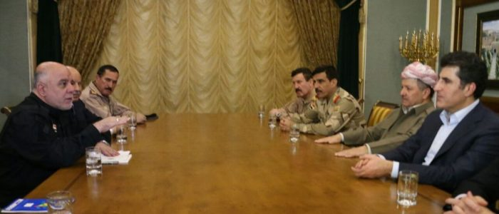 Abadi Barzani emphasize the coordination and cooperation in the liberation of Mosul and rebuilding,