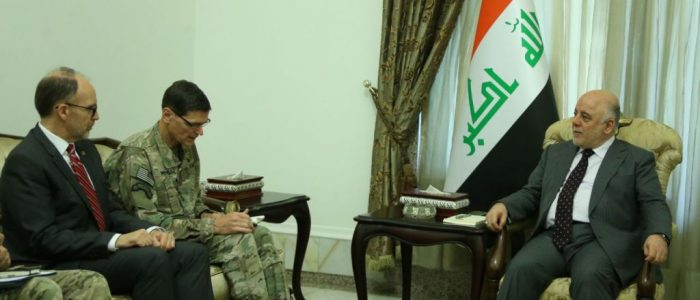 العبادي وفوتيل يؤكدان على تعزيز التعاون العسكري والأمني بين بغداد وواشنطن