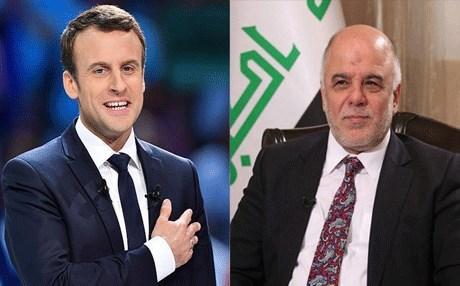 ماكرون يؤكد للعبادي موقف بلاده الثابت من وحدة العراق وأحترام سيادته