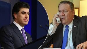 """بومبيو وبارزاني يبحثان هاتفيا """"مستقبل العملية السياسية"""" في العراق"""
