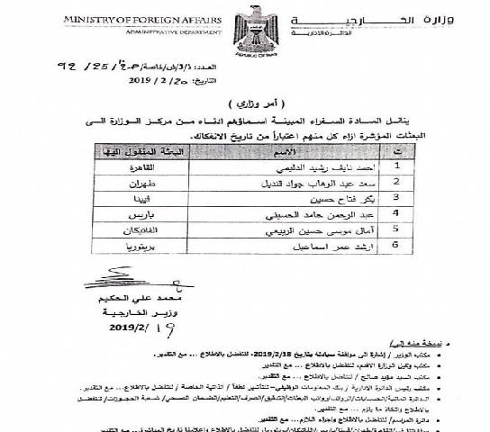اخبار الشارع العراقي 2019_بالوثيقة ..الخارجية