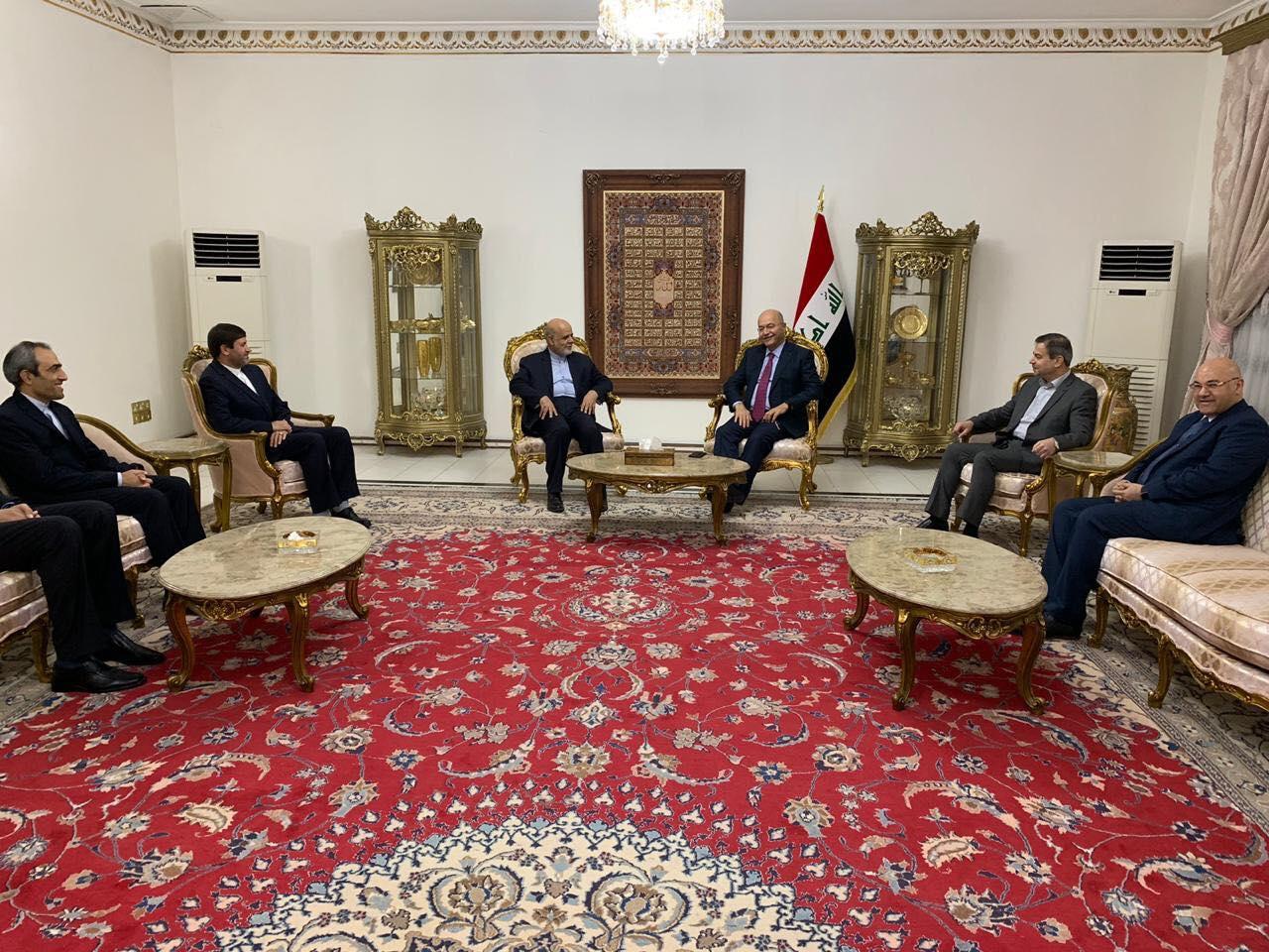 صالح يطمأن السفير الإيراني بأن العراق يجري اتصالاته لإيقاف التصعيد ضد إيران