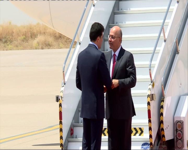 برهم صالح يصل أربيل لأول مرة منذ انتخابه رئيسا للجمهورية