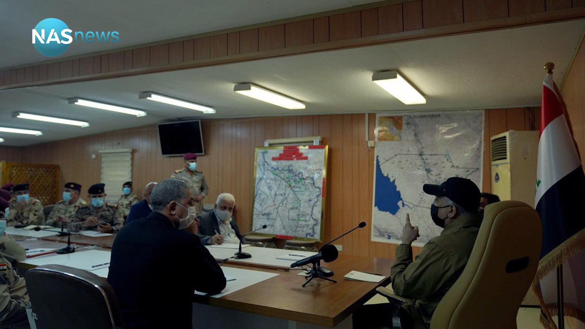 """الكاظمي يجتمع مع القيادات الأمنية في صلاح الدين """"ليؤكد على وجود الدولة"""""""