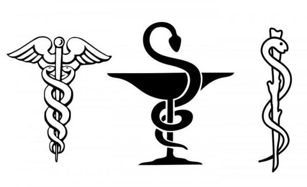 ما هو معنى شعار الطب عصا يلتف عليها حية بينما شعار الصيدلية كأس يلتف عليه حية ؟؟