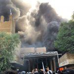 إحراق مبنى مقر حزب بارزاني وسط بغداد من قبل ميليشيات الحشد الولائية