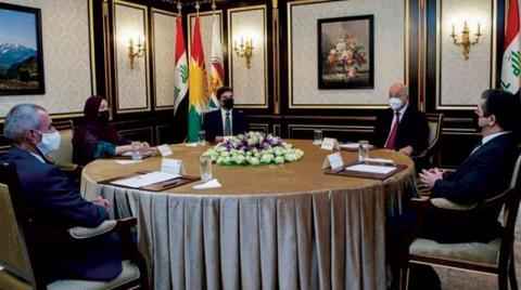 مصدر:صالح يجتمع بالرئاسات الكردية الثلاث في أربيل لبحث العلاقة بين بغداد وأربيل